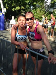 teammates at finish line of Natal Day Road Race